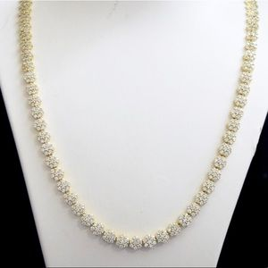 14k Gold Lab Diamond Cluster Necklace Chain 20""